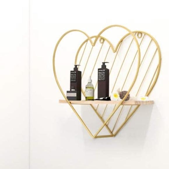 Gold Heart Metal rack wall Floating Shelve decor